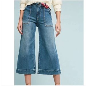 Pilcro Anthro Utility Cropped Jeans Wide Leg